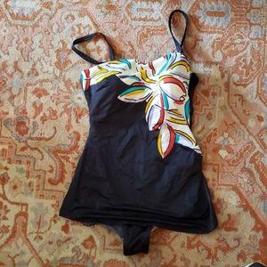 Roxanne Black skirt Vtg Bathing Suit Size40/18C